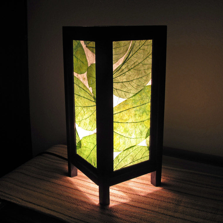 Green Fauna Mulberry Paper Wood Frame Table Lantern (Lamp) - TropicaZona