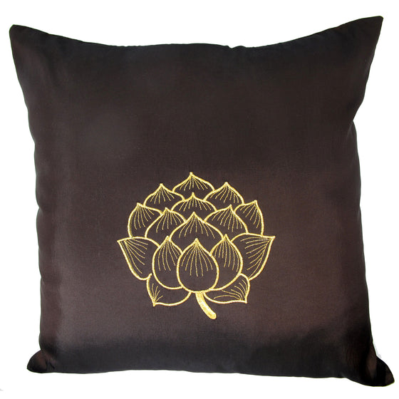 Thai Silk Throw Pillow Cover, Lotus Bloom Design, Dark Brown - TropicaZona