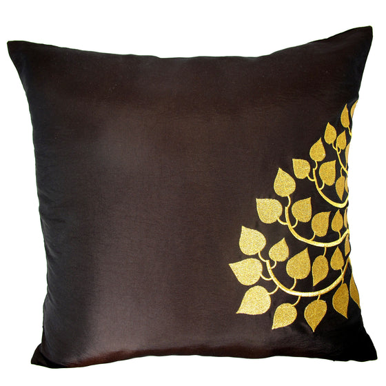 Thai Silk Throw Pillow Cover, Bodhi Design, Dark Brown - TropicaZona