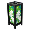 Plumeria Mulberry Paper Wood Frame Table Lantern (Lamp) - TropicaZona