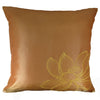 Thai Silk Throw Pillow Cover, Lotus Design, Gold - TropicaZona