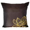 Thai Silk Throw Pillow Cover, Lotus Design, Dark Brown - TropicaZona