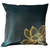 Thai Silk Throw Pillow Cover, Lotus Design, Green - TropicaZona