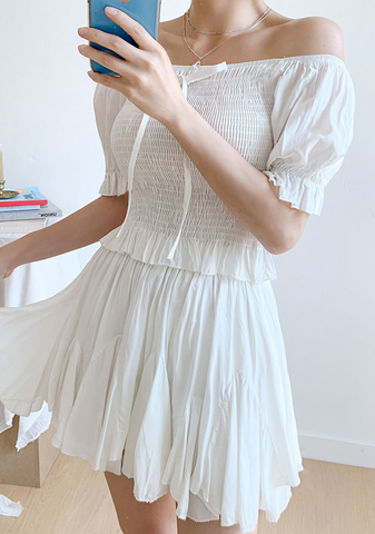 Meeting Angels Off-Shoulder Top + Skirt Set