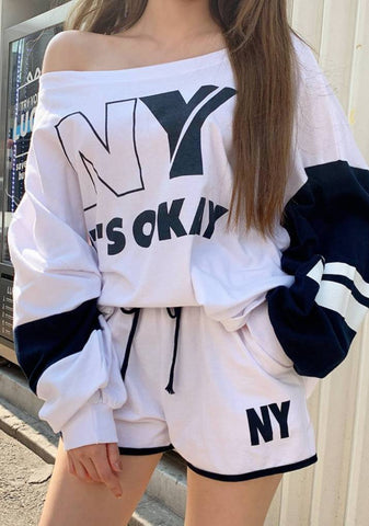 New York Is Okay Lettering Shorts Set