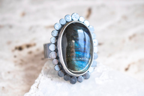 Size 7 1/2 | Labradorite Galaxy Halo Ring