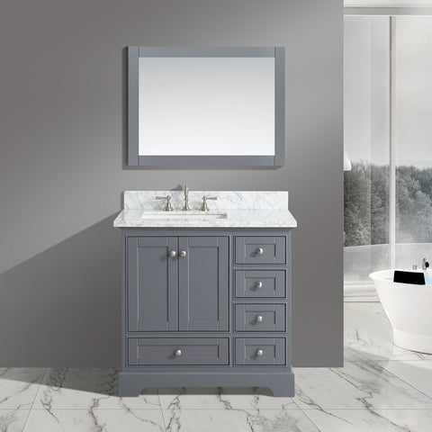 "Jocelyn 36"" Vanity Set with White Italian Carrara Marble Top - Charcoal"