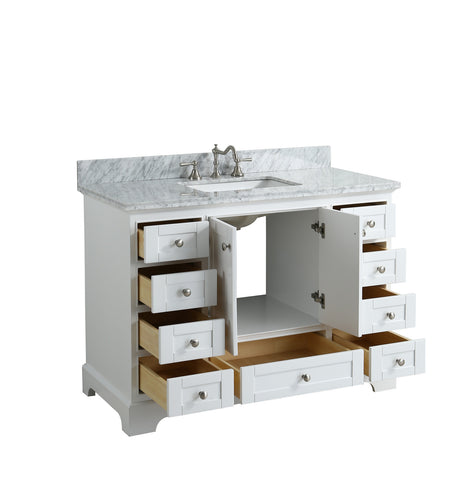 "Jocelyn 48"" Vanity Set with White Italian Carrara Marble Top - White"