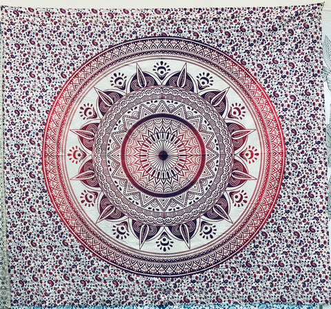 Red Mandala Queen Tapestry