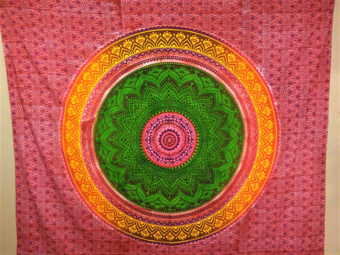 Green Pink Mandala Queen Tapestry