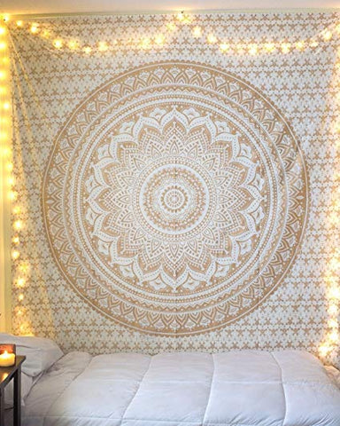 Gold Mandala Queen Tapestry