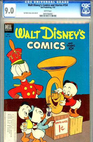 Walt Disney's Comics and Stories #154 CGC graded 9.0 white pages (1953)