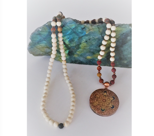 Jasper & Fossil Mala Necklace