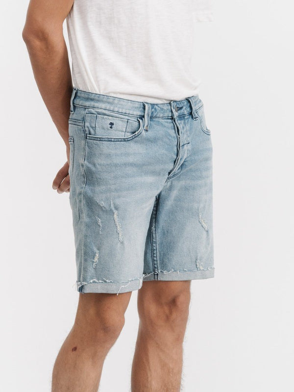 Destroyed Bones Denim Short - Salt Blue