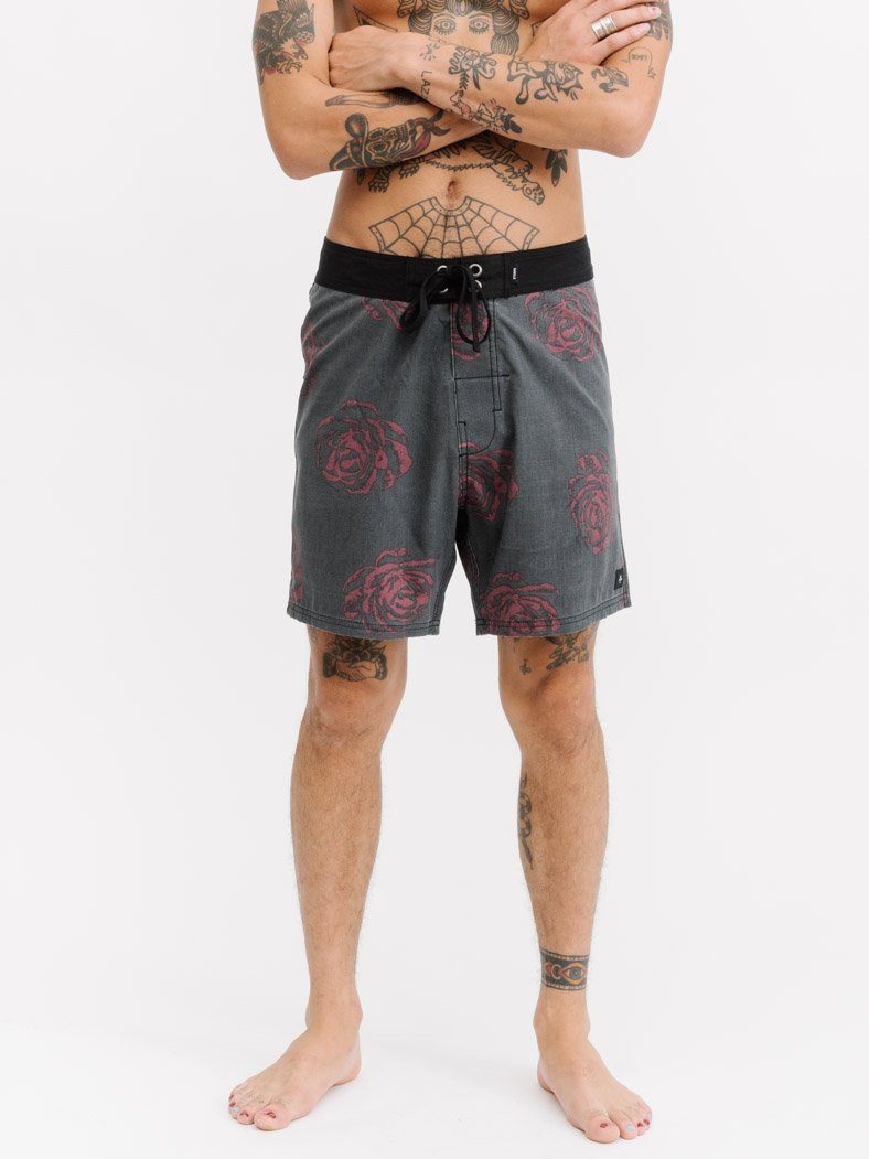 Dark Rose Boardshort - Vintage Black