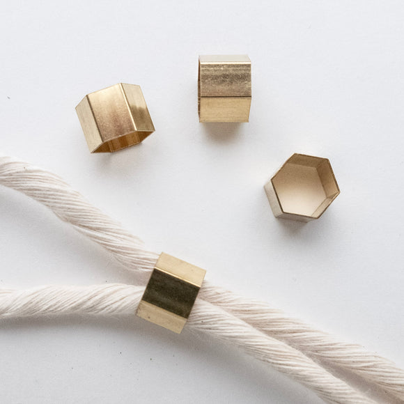 Solid Brass Hexagon Beads