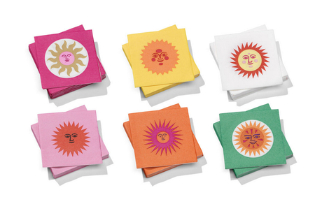 Girard Paper Napkins - Small, La Fonda Sun pink orange