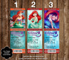 Princess Ariel Little Mermaid Birthday Ticket Invitation (3 Designs) - DIGITAL FILE