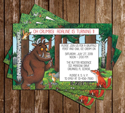 The Gruffalo - Book - Birthday Party - Invitation