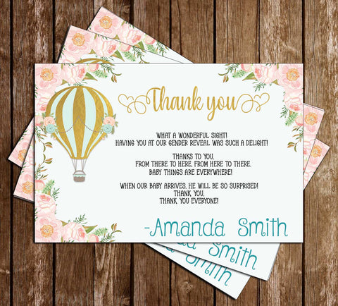 Hot Air Balloon - Floral - Boy Baby Shower - Thank You Card