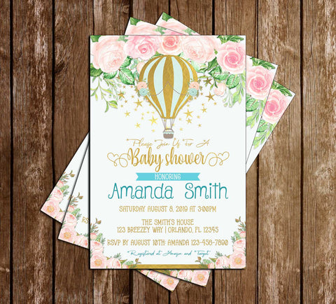 Hot Air Balloon - Floral - Boy Baby Shower - Invitation