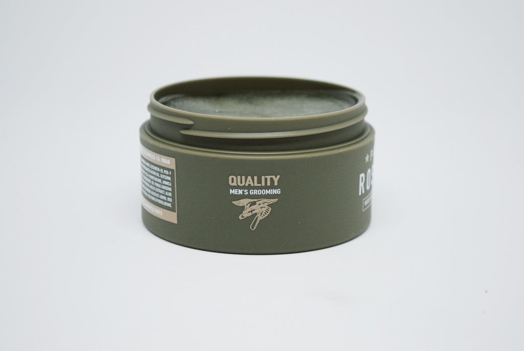 ROSEWOOD POMADE is a strong hold, high shine, water soluble styling product