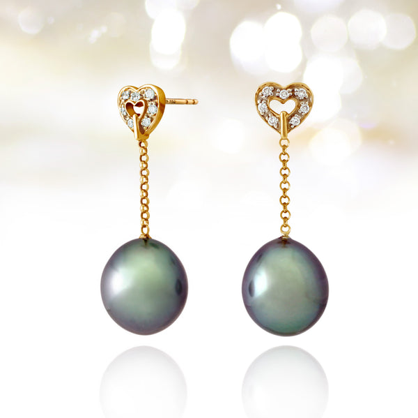 Tahitian pearl earrings - 18k yellow gold with diamonds - Forever -EAYDPE00110