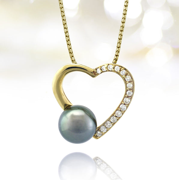 Tahitian pearl pendant - 18k yellow gold with diamonds - Forever -PEYDPE00565