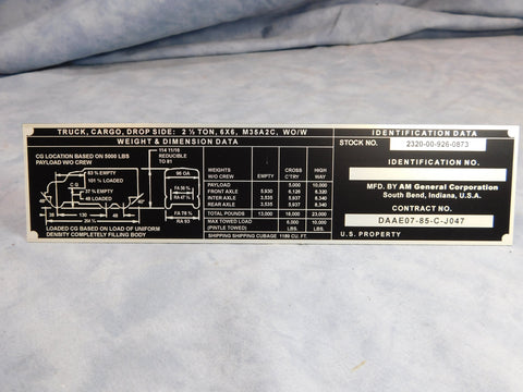 AM GENERAL M35A2C WO/W WEIGHT AND DIMENSION DATA PLATE