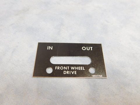 AIR SHIFT SWITCH DATA PLATE - 10937760