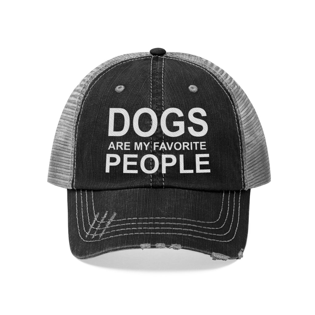 DOGS ARE MY FAVORITE  PEOPLE DISTRESSED TRUCKER HAT