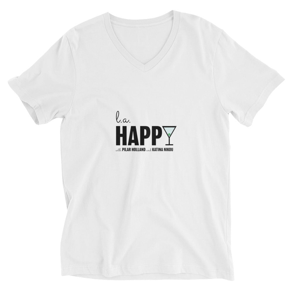 L.A. Happy Show Unisex Short Sleeve V-Neck T-Shirt in White