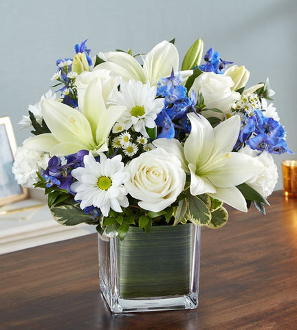 Blue & White Sympathy Arrangement