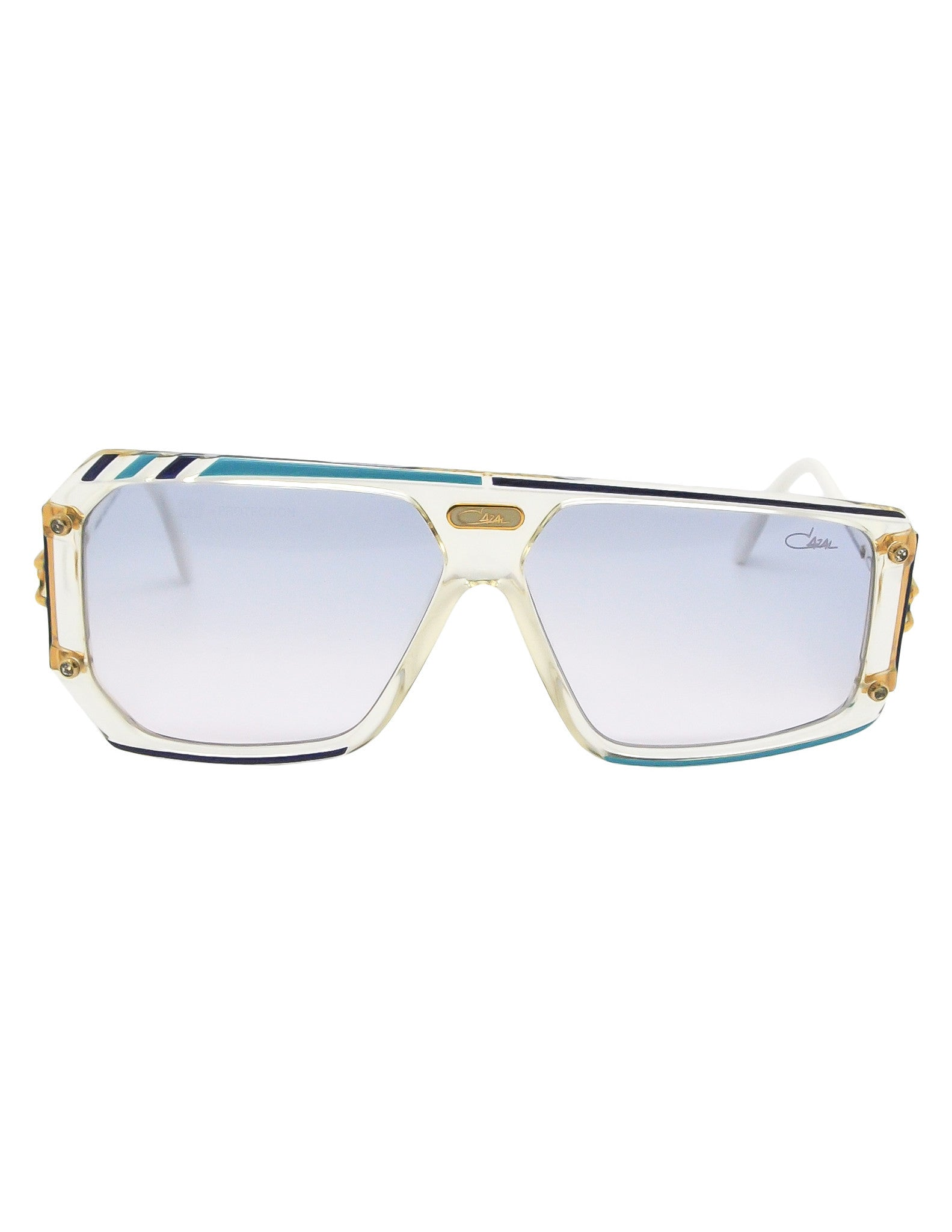 Cazal Vintage Asymmetrical Navy and Aqua Blue Sunglasses 867 649 - Amarcord Vintage Fashion  - 1