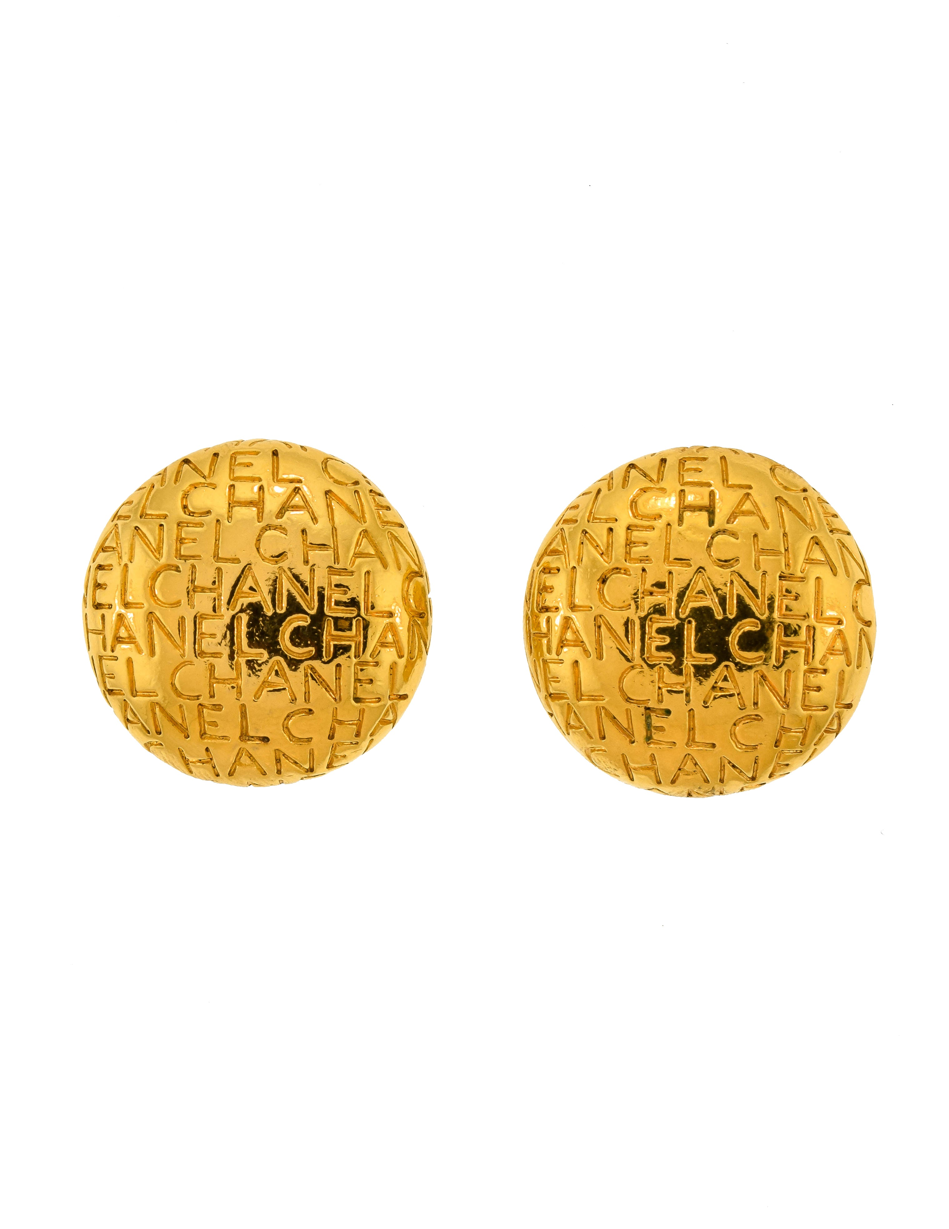 Chanel Vintage Gold Engraved Repeating Script Earrings