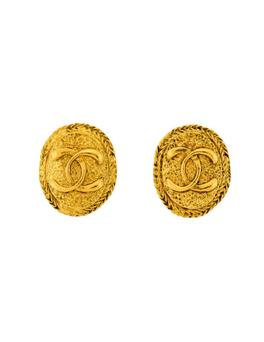 Chanel Vintage Gold Textured CC Logo Oval Framed Earrings
