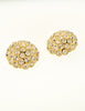 Christian Dior Vintage Round Rhinestone Gold Earrings