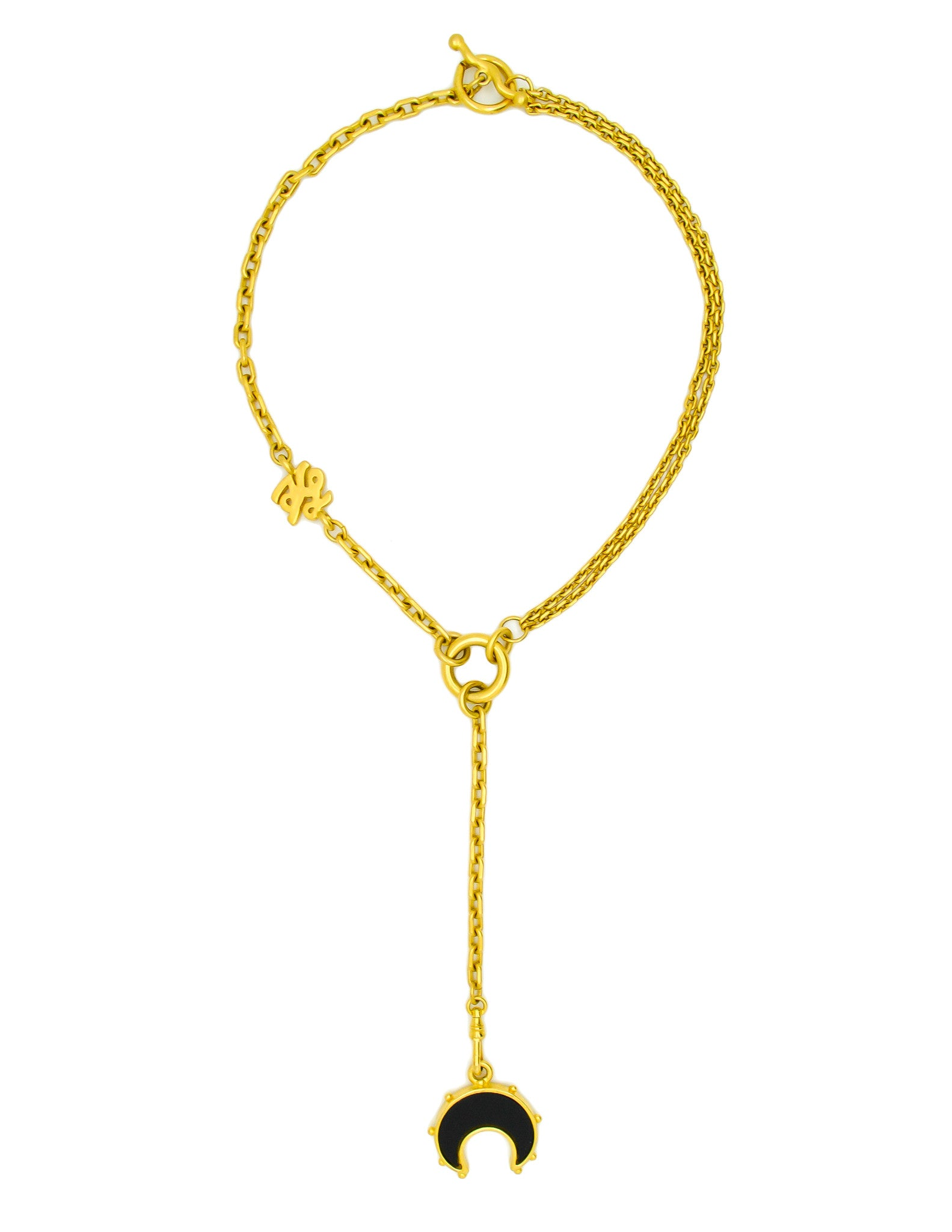 Karl Lagerfeld Vintage Crescent Moon Gold Lariat Necklace - Amarcord Vintage Fashion  - 1