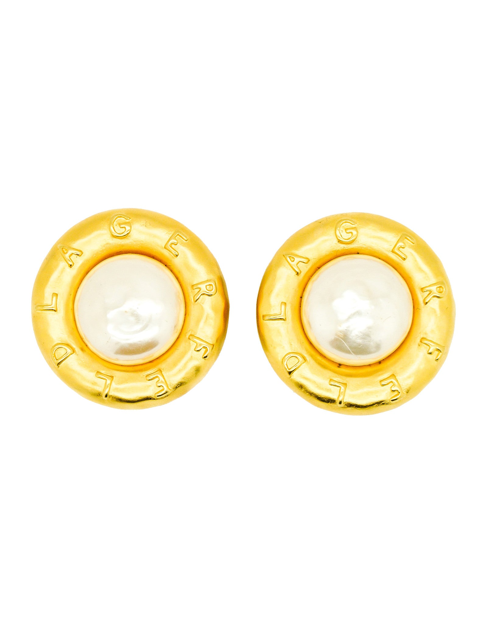 Karl Lagerfeld Vintage Brushed Gold Large Signature Pearl Earrings - Amarcord Vintage Fashion  - 1