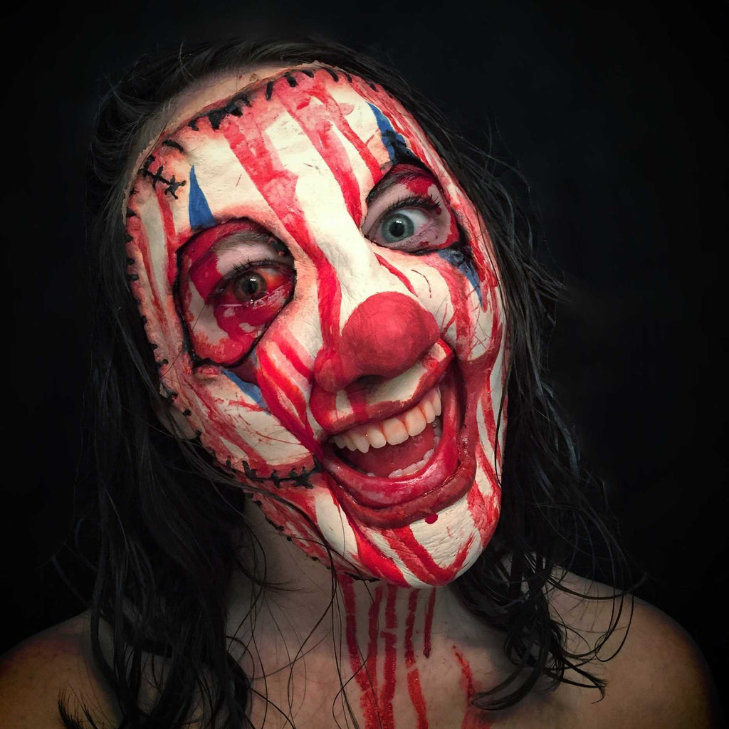horror clown, leatherface, stitches, stitched face mask