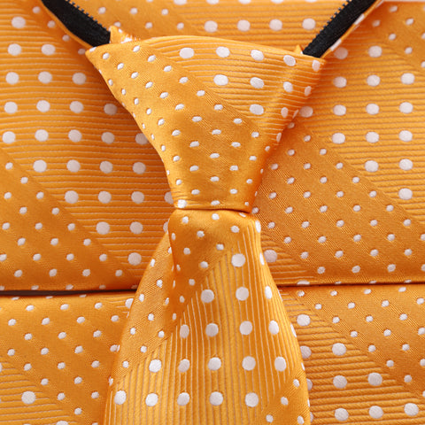 Crush - Orange Children's Zipper Tie with Dotted Stripe