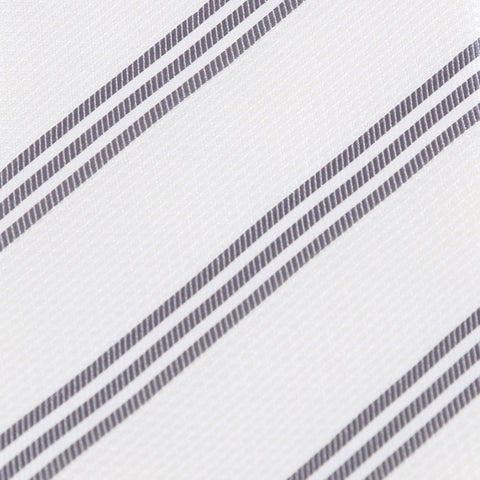 Trinity - White Tie with Three Grey Stripes