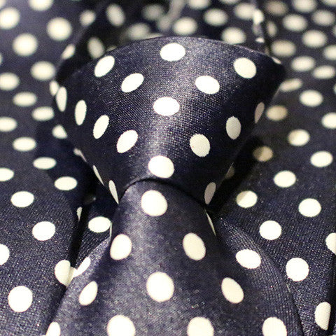 Blue Dotted Kids Zipper Tie with Large White Dots