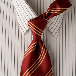 Triple Crown - Red Striped Necktie with Gold Stripes