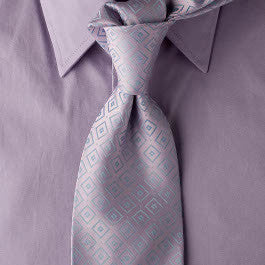 Good Thing - Purple Necktie with Light Blue Square Design
