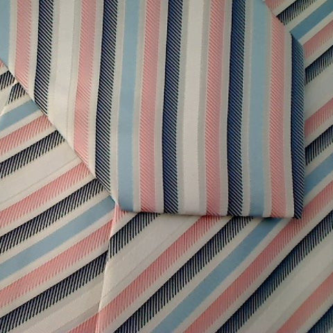 Multi-Color Striped Necktie With Pink, Grey, Black and Light Blue Stripes