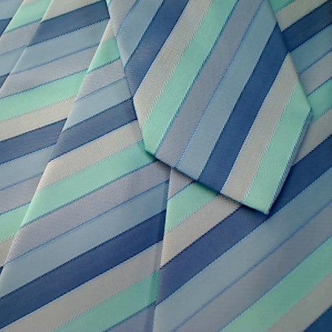 Blue Striped Necktie With Dark Blue, Light Blue, Turquoise and Grey Stripes