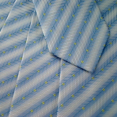 Blue Striped Necktie With White Stripes and Yellow Square Design