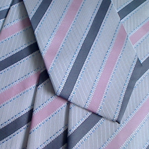 White Striped Necktie With Grey and Pink Stripes and Blue Lines