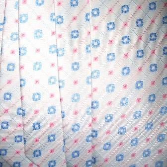 White Necktie With Pink Checkers & Light Blue Circles